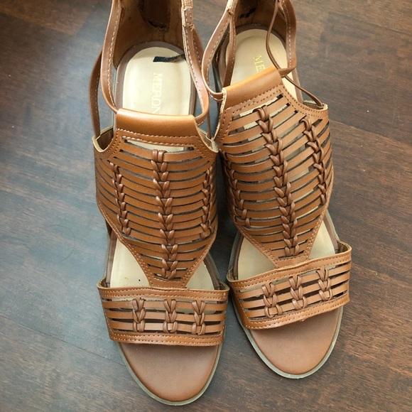 Brown Caged Block Heel Sandals | Poshmark